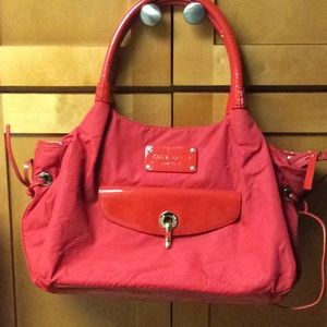 Kate Spade Red Stevie Nylon and Patent Satchel Bag